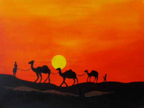 Desert tutorial - origineel Artwork Ruchika - acrylverf op canvas