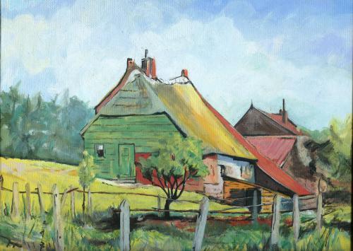 Landhuisje - voorbeeld uit boek - gouache op canvas