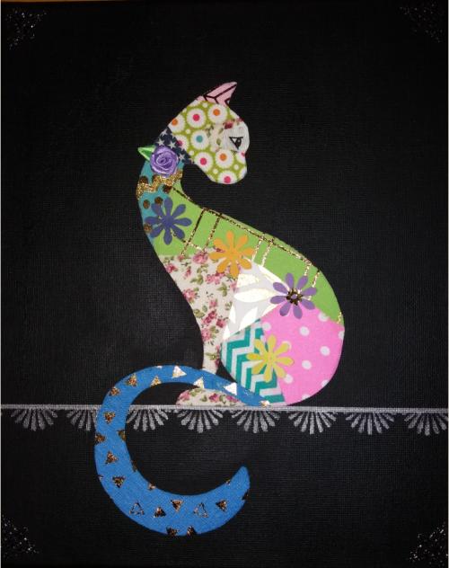 Lapjeskat - textiel op canvas