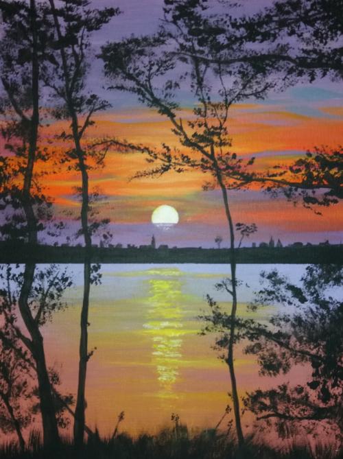 Sunset - tutorial Joony art - acrylverf op canvas