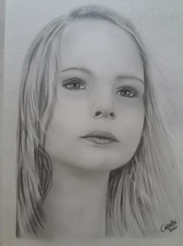 Girl portrait - tutorial Emmy Kalia - grafietpotlood op papier