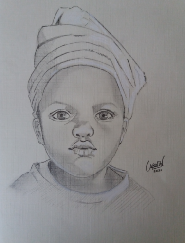 Portrait of a child - origineel Carole Massey - grafietpotlood/pastelkrijt op papier