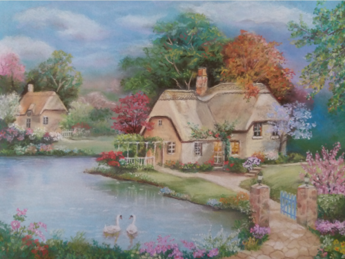 Swan cottage - origineel Sung Kim - pastelkrijt op schuurpapier