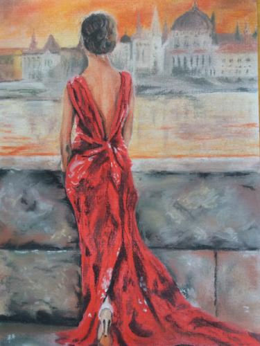 Vrouw in rode jurk - voorbeeld Pinterest - pastelkrijt op papier
